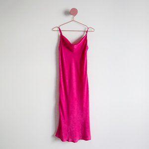 Forever 21 Hot Pink Satin Slip Dress